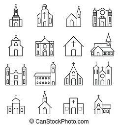 gebouw, set, kerk, vector, pictogram