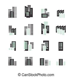 gebouw, set, pictogram