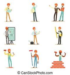 gebouw, set, proces, woning, werkmannen , architecten, plan, bouwsector, illustraties