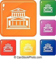 gebouw, set, theater, iconen, kleur, vector