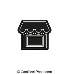 gebouw, shoppen , illustratie, -, supermarkt, vector, voorkant, winkel, pictogram