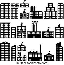 gebouw, silhouettes