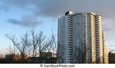 gebouw, sky., wrakkigheid, bewolkt, achtergrond, tijd