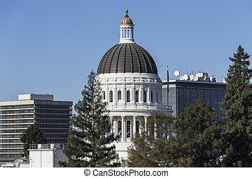 gebouw, staat, californië, capitool koepel