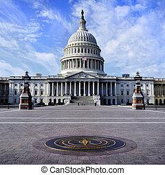 gebouw, staat, verenigd, capitool