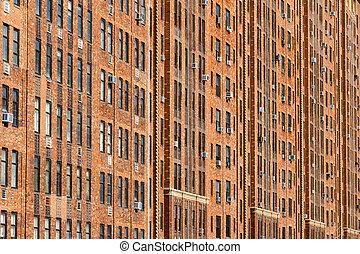 gebouw, stad, flat, york, achtergrond, nieuw