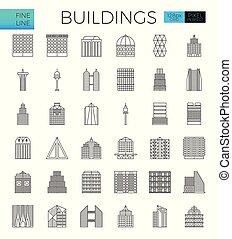 gebouw, stad, iconen
