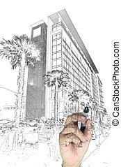 gebouw, stad, mannelijke , tekening, hand