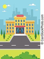 gebouw, stad, school, buitenmening