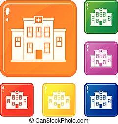 gebouw, stad, set, iconen, kleur, ziekenhuis, vector