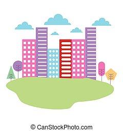 gebouw, stad, weide, natuur, bomen, landscape