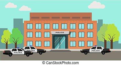 gebouw, station, politie