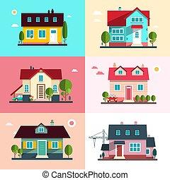 gebouw, stedelijke , set, gezin, iconen, -, plat, symbolen, huisen, vector, ontwerp, buitenkant, thuis