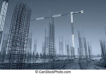 gebouw stek, met, afgedwingenene, beton, staal, lijstjes,...
