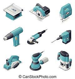 gebouw stel, gereedschap, elektrisch, pictogram