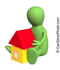 gebouw, stuk speelgoed huis, -, marionet, kind, 3d