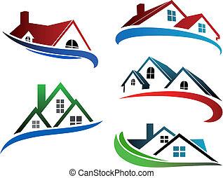 gebouw, symbolen, met, thuis, daken