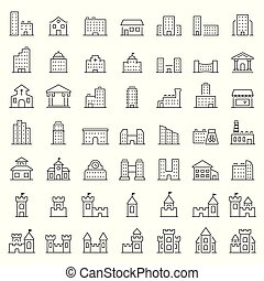 gebouw, symbols., vector, set, dune lijn, style., pictogram