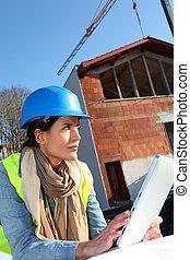 gebouw, tablet, bouwterrein, architect, gebruik, elektronisch