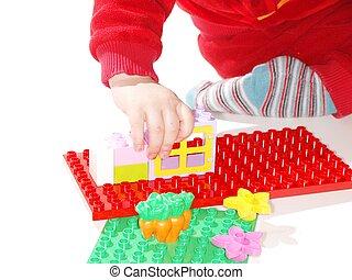 gebouw, toddler, spelend, speelgoed