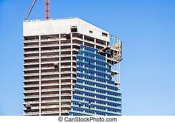 gebouw, toren, moderne, kantoor, bouwsector