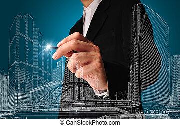 gebouw, trekken, achitect, zakelijk, of, cityscape, tekening, man