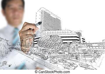 gebouw, trekken, zakelijk, moderne, cityscape, man