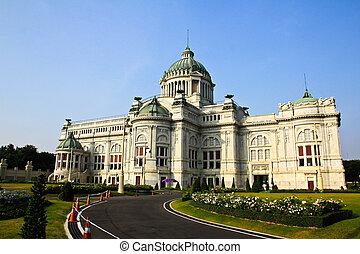 gebouw, troon, bangkok, nationale, wetgevende macht, marmer,...