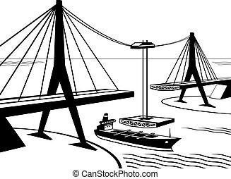 gebouw, van, opgeschort, brug