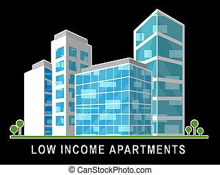 gebouw, vastgoed, flats, rijtjeshuizen, rijzen, -, illustratie, hoog, laag, demonstreren, inkomen, 3d