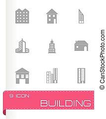 gebouw, vector, set, iconen
