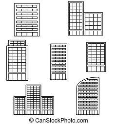 gebouw, vector, set