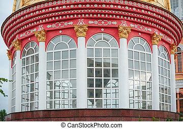 gebouw, vensters, groot, rood, ronde, kolommen
