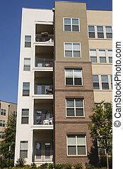 gebouw, vensters, rijhuis, balkons