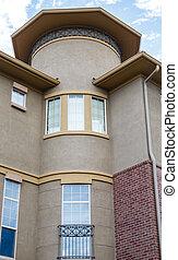 gebouw, vensters, rijhuis, moderne, stucco