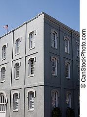 gebouw, vensters, witte , grijze , stucco