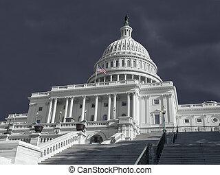 gebouw, verenigd, capitool, stormachtig, staten, weer