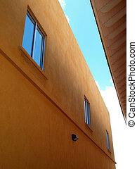 gebouw, verhaal, vensters, tijdgenoot, twee, stucco