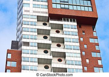 gebouw, vlak, toren, moderne, detail