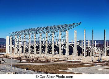 gebouw, voetbal, nieuw, bouwterrein, stadion, bouwsector