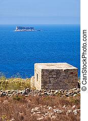gebouw, voorgrond., conducteur, eilandje, filfla, aanzicht