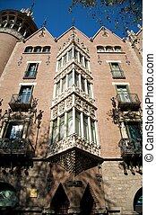 gebouw, voorkant, barcelona