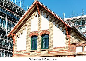 gebouw, voorkant, moderne, oud