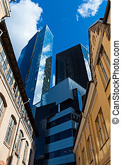 gebouw, voorkant, oud, wolkenkrabber