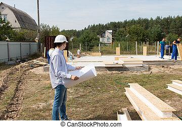 gebouw, voorman, controleren, bouwterrein, toebehoren