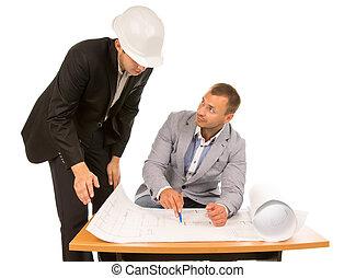 gebouw, voorman, het bespreken, architect plan