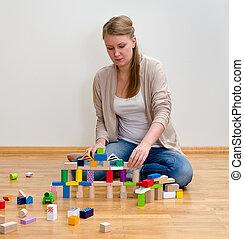 gebouw, vrouw, blokjes, houten, jonge, toren
