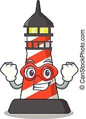 gebouw, vuurtoren, held, realistisch, fantastisch, spotprent, rood