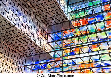 gebouw, wal, kleurrijke, moderne, glas, interieur