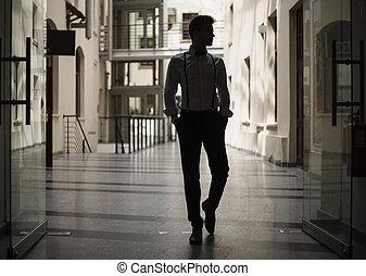 gebouw, wandelende, man, mooi